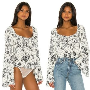 Free People One On One Date Bodysuit  Ivory Floral